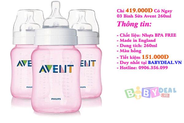 Bình Sữa Avent 260ml Hồng