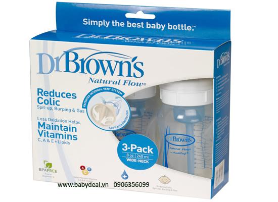 Set 3 Dr Brown's Cổ Rộng 8oz cho bé, shop mẹ và bé, giá rẻ tại tp hcm