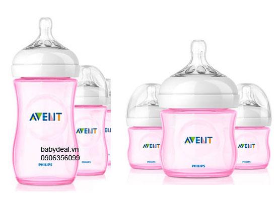 Bình Sữa Avent Natural Màu Xanh Hồng cho bé, shop mẹ và bé, giá rẻ tại tp hcm