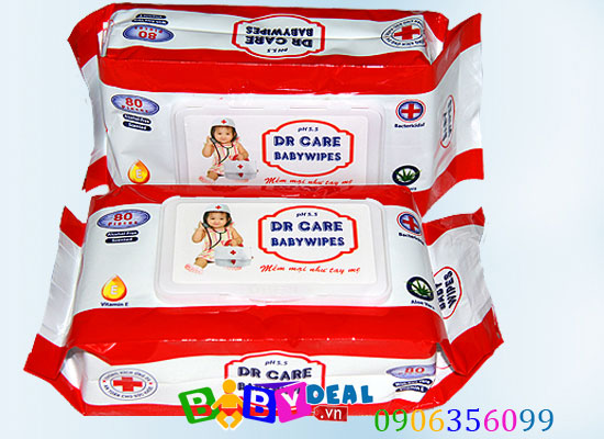 Combo 3 Gói Khăn  Giấy Ướt Dr. Care cho bé, shop mẹ và bé, giá rẻ tại tp hcm