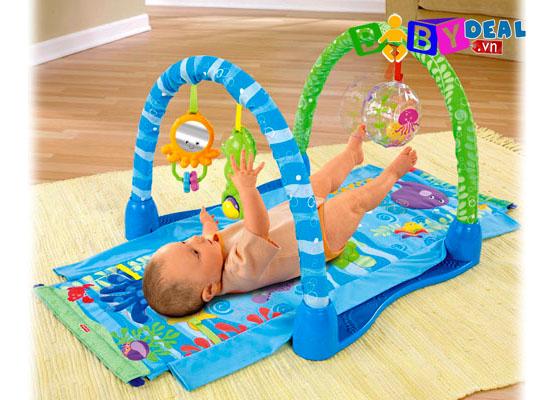 Thảm nằm chơi Fisher Price Kich & Crawl Gym cho bé, shop mẹ và bé, giá rẻ tại tp hcm