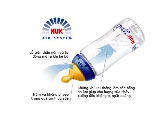 Bình Sữa Cổ Rộng Thủy Tinh Núm Cao Su NUK 240ml cho bé, shop mẹ và bé, giá rẻ tại tp hcm