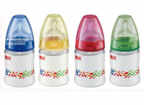 Bình Sữa Cổ Rộng Thủy Tinh Núm Silicon NUK 120ml cho bé, shop mẹ và bé, giá rẻ tại tp hcm