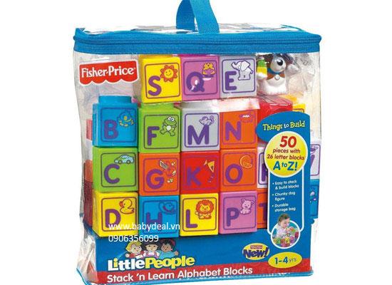 Đồ Chơi Xếp Hình Fisher-Price Little People Builders Stack 'n Learn Alphabet Blocks cho bé, shop mẹ và bé, giá rẻ tại tp hcm