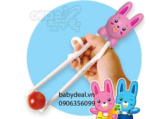 Đũa Tập Ăn Edison  Hình Con Thỏ 2 Giai Đoạn cho bé, shop mẹ và bé, giá rẻ tại tp hcm