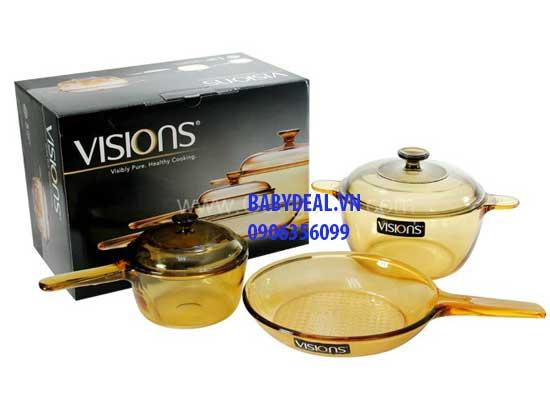 Bộ Nồi Thuỷ Tinh Vision VS-329 cho bé, shop mẹ và bé, giá rẻ tại tp hcm
