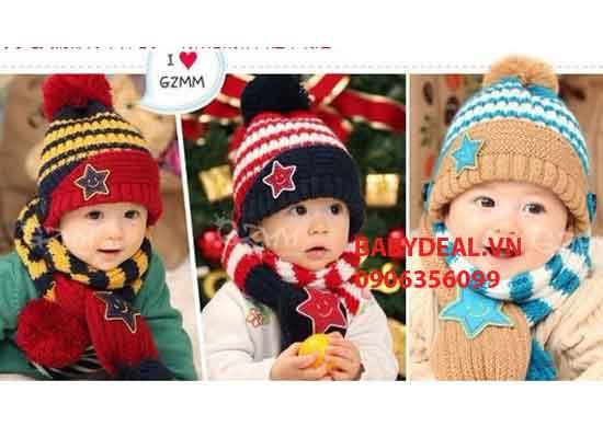 Bộ Nón Len Khăn Choàng Hàn Quốc cho bé, shop mẹ và bé, giá rẻ tại tp hcm