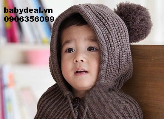 Áo choàng len bông cho bé, shop mẹ và bé, giá rẻ tại tp hcm