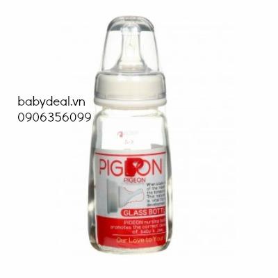 Bình sữa thủy tinh cổ hẹp 120ml Pigeon cho bé, shop mẹ và bé, giá rẻ tại tp hcm