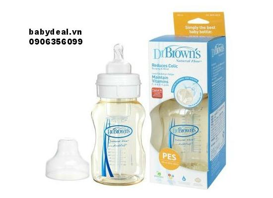 Bình sữa Dr.Brown's cổ rộng Pes 240ml cho bé, shop mẹ và bé, giá rẻ tại tp hcm