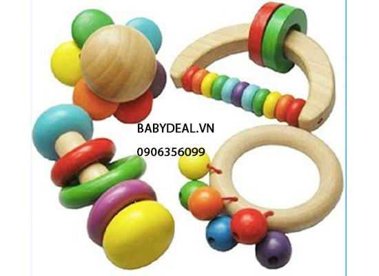 Lục Lạc Gỗ Cho Bé- Set 2 cho bé, shop mẹ và bé, giá rẻ tại tp hcm