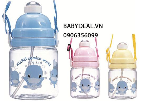 Bình Nước Ống Hút Kuku 5320 cho bé, shop mẹ và bé, giá rẻ tại tp hcm