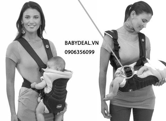 Địu Chicco 3 Tư Thế Màu Xám cho bé, shop mẹ và bé, giá rẻ tại tp hcm