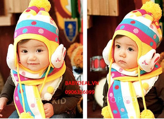 Bộ Nón Len Khăn Choàng Hình Thỏ cho bé, shop mẹ và bé, giá rẻ tại tp hcm
