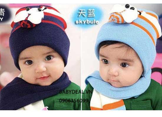 Nón Len Khăn Choàng Cho Bé Hình Sọc Con Bọ cho bé, shop mẹ và bé, giá rẻ tại tp hcm