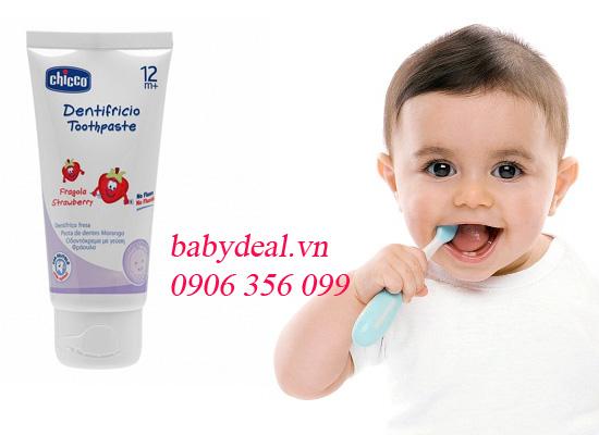 Kem Đánh Răng Hương Dâu Chicco 12M+ cho bé, shop mẹ và bé, giá rẻ tại tp hcm